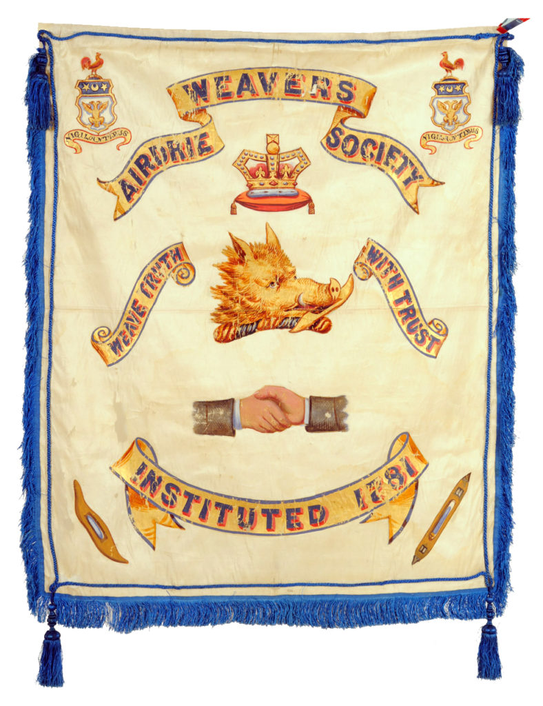 White silk banner with blue silk thread fringing, cords and tassles, handpainted in gold, blue, red and grey depicting the Airdrie Weavers' Society name, motto, symbols and Airdrie crests.