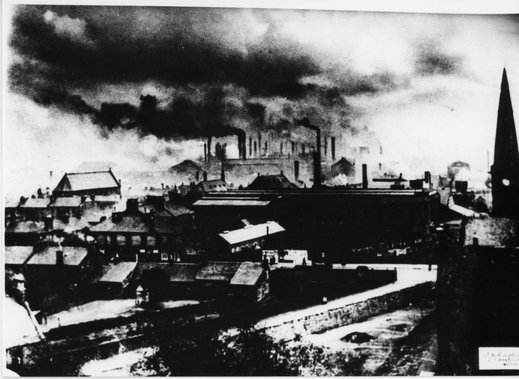 'Silver Linings' by T Johnstone, 1930s. This pictorialist photograph of Motherwell shows the town dominated by its steelworks.