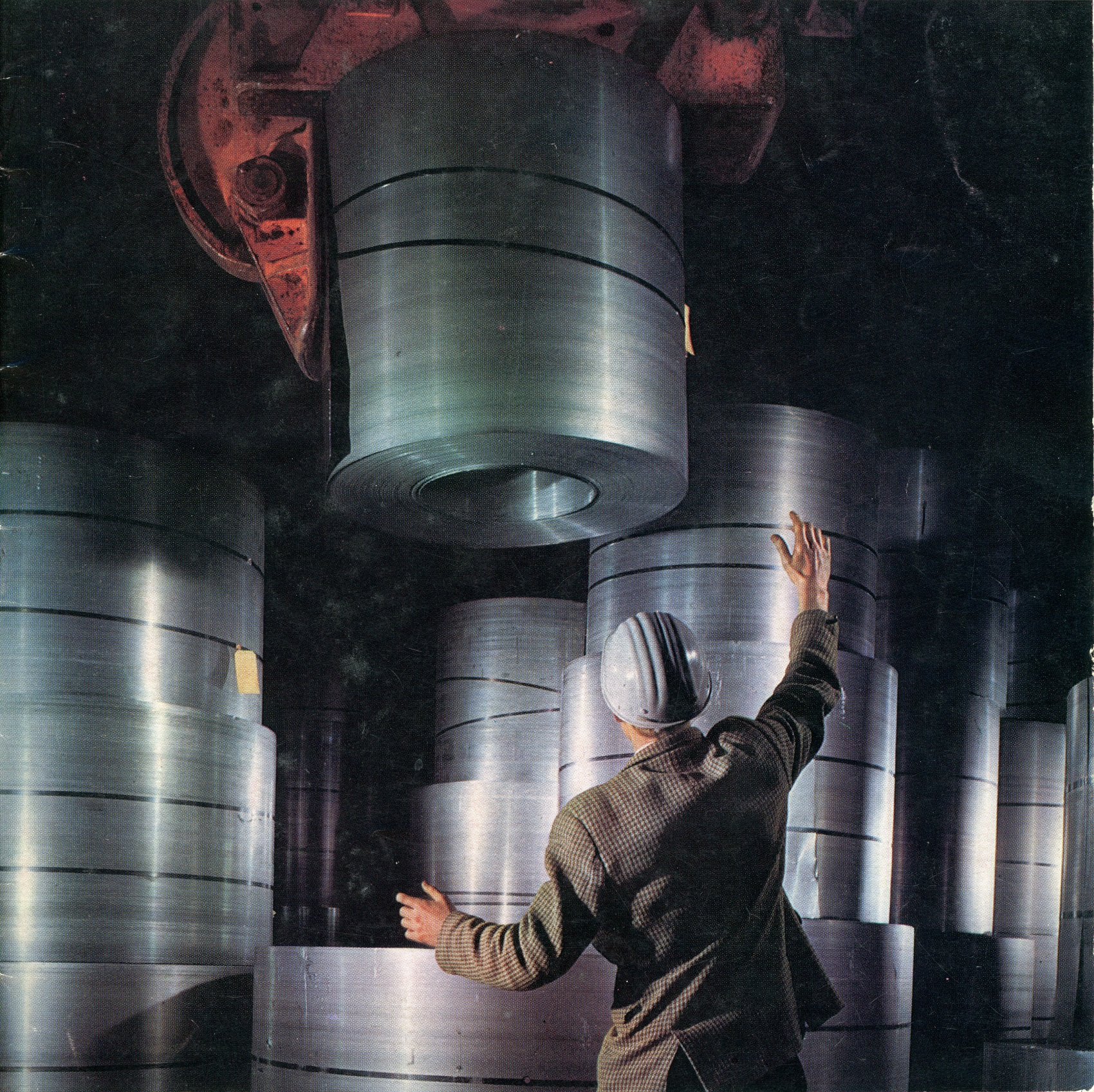 This uncredited photograph of steel coils being stacked was a cover image for Colvilles Magazine in 1962.