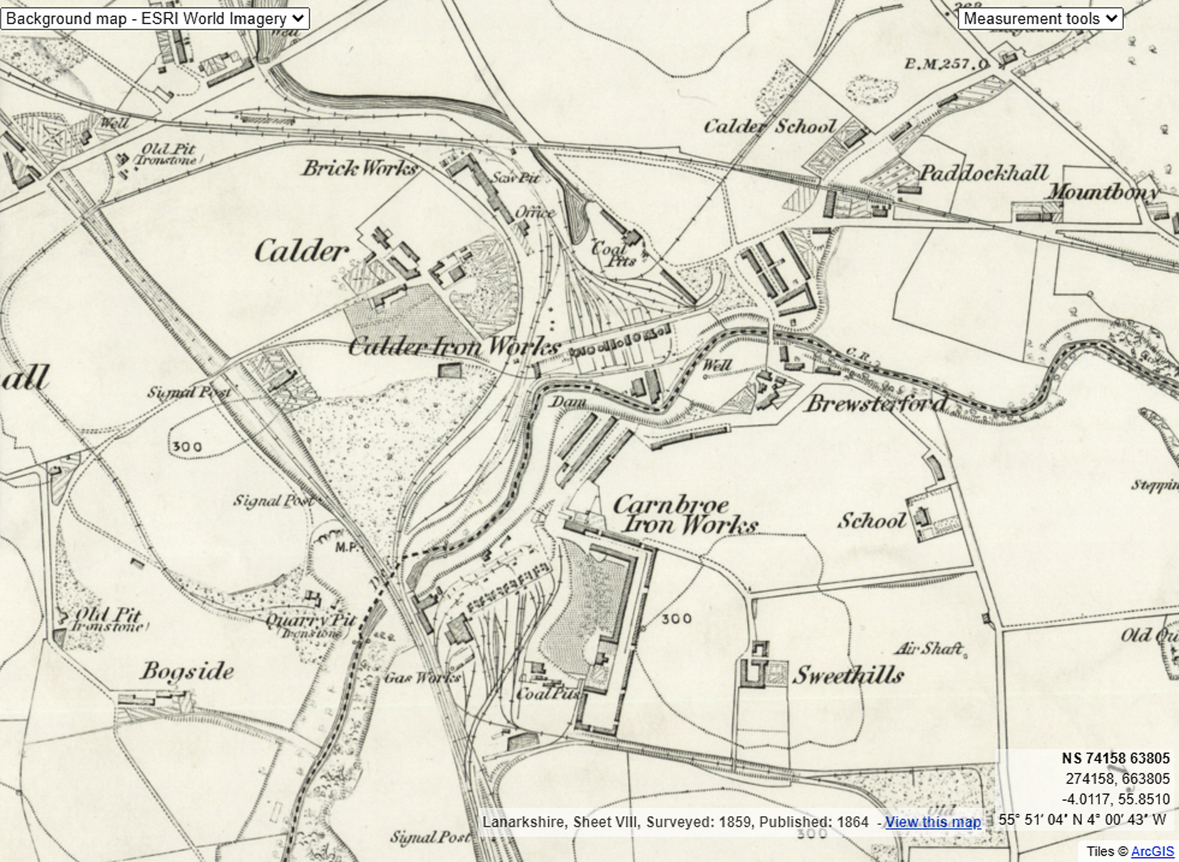 The Calder Iron Works from the 1st OS map, 1859. The works was built on the Calder Estate and you can see Calder House with its gardens just to the north-west. The small gatehouse at centre-far left still stands as a private house.