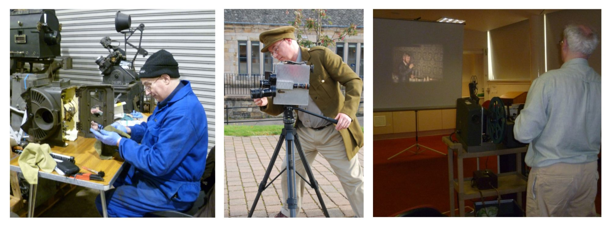 Three images of the same man (1) cleaning cinema equipment (2) filming with a vintage camera and (3) presenting a projected film show