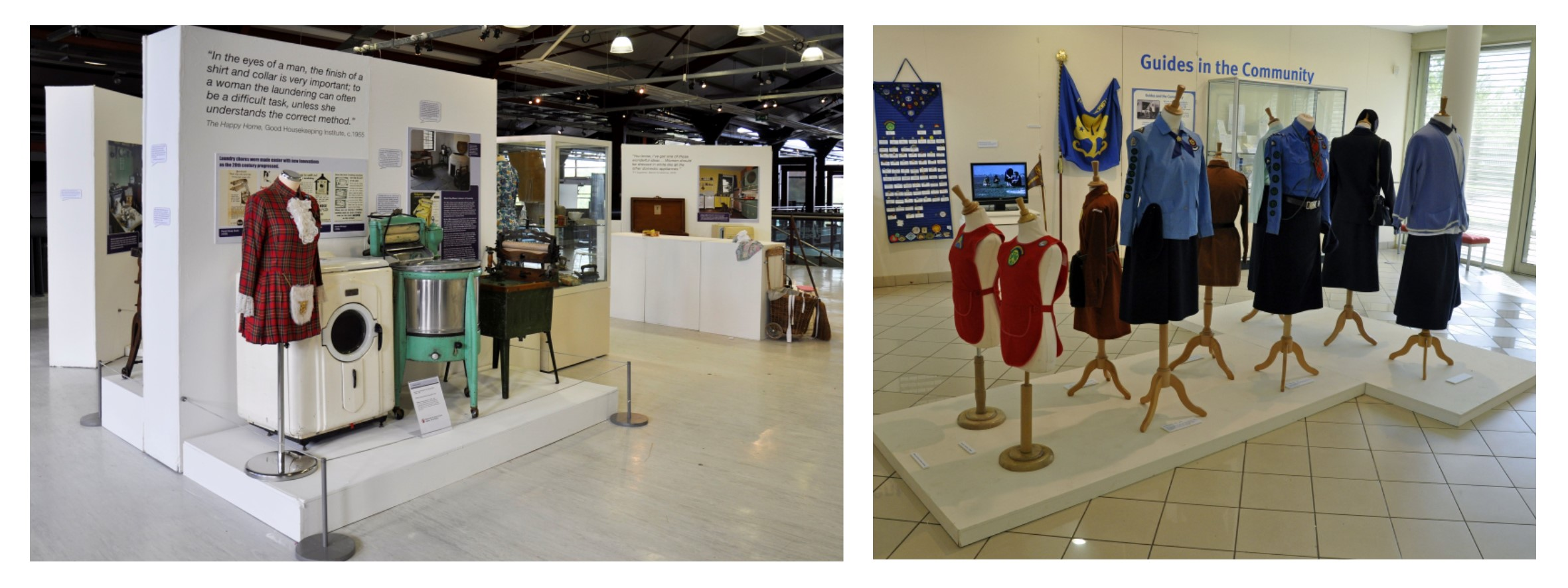 (Left) An exhibition set display of vintage washing machines and (right) mannequins dressed in Girl Guide uniforms