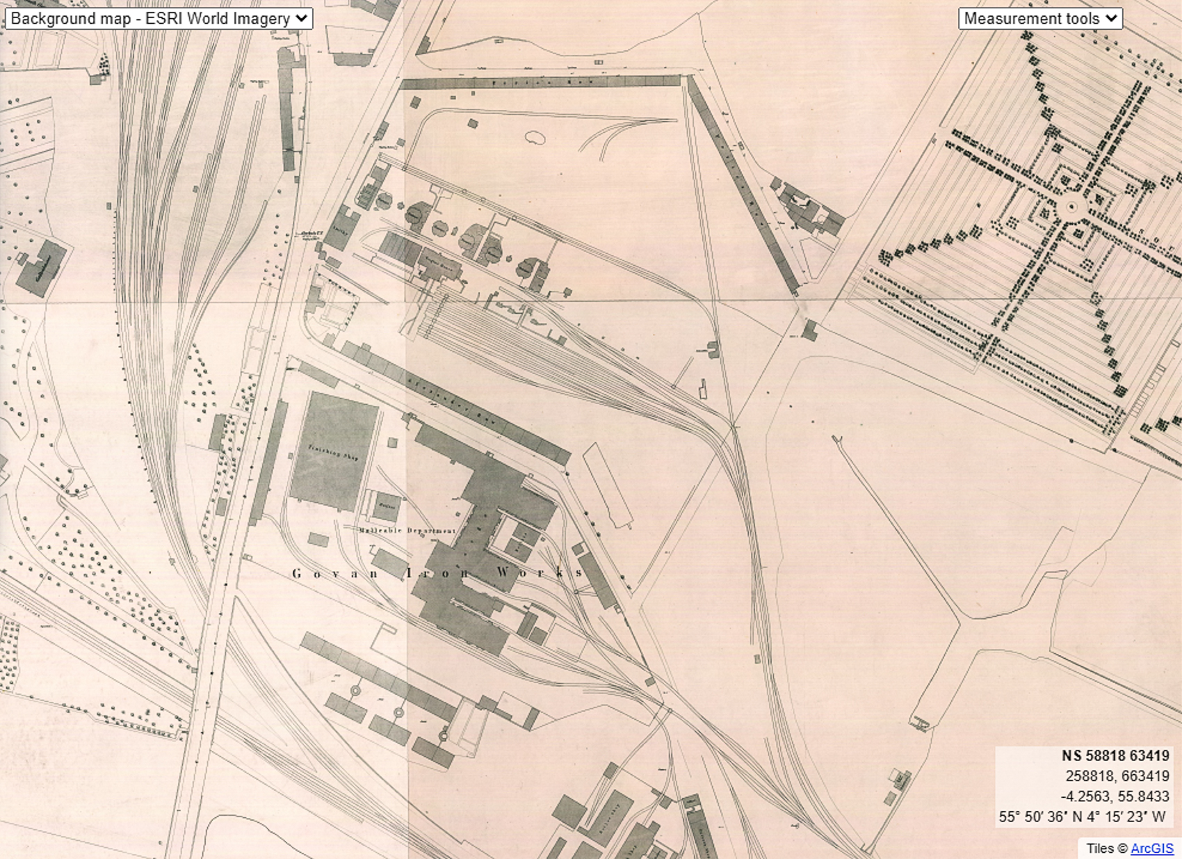 Govan Iron Works from the 1st OS map, 1857. The pig iron works is to the north with the newer malleable iron department to its south. The Southern Necropolis is at top-right.
