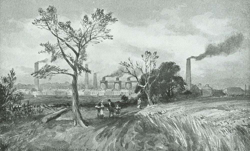 Govan Iron Works looking North, drawn by William Simpson in the late 1840s. The row of single-storey ironworkers' houses in front of the works was called Alexander Row. Soon a malleable iron department would be built in the field to the left.