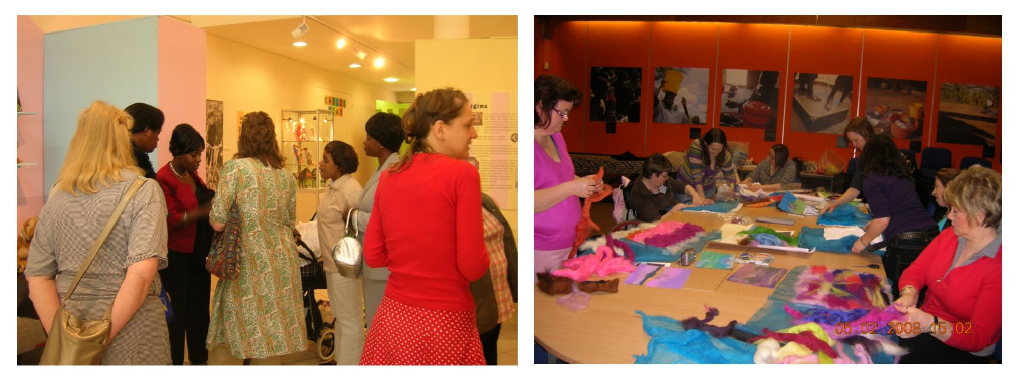 Two photos, one showing a group of black and white women exploring an exhibition, the other of a group of white women making felt collages