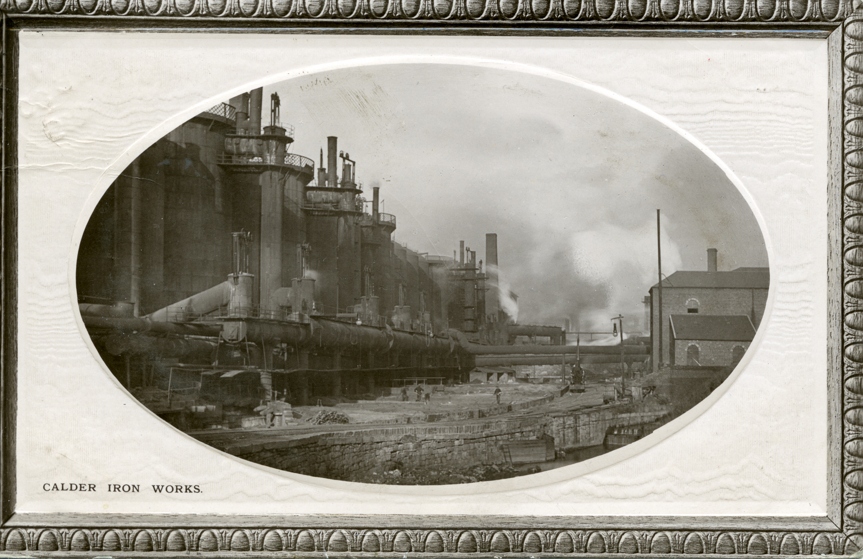 The Calder Iron Works, Coatbridge seen from across the North Calder Water around 1900. Built around 1795 this was the Monklands' first pig iron works. After David Mushet was made manager in 1800 this was the first ironworks to make use of the local blackband ironstone. It was also one of the first ironworks to use James Beaumont Neilson's Hot Blast process. The works closed in 1921.