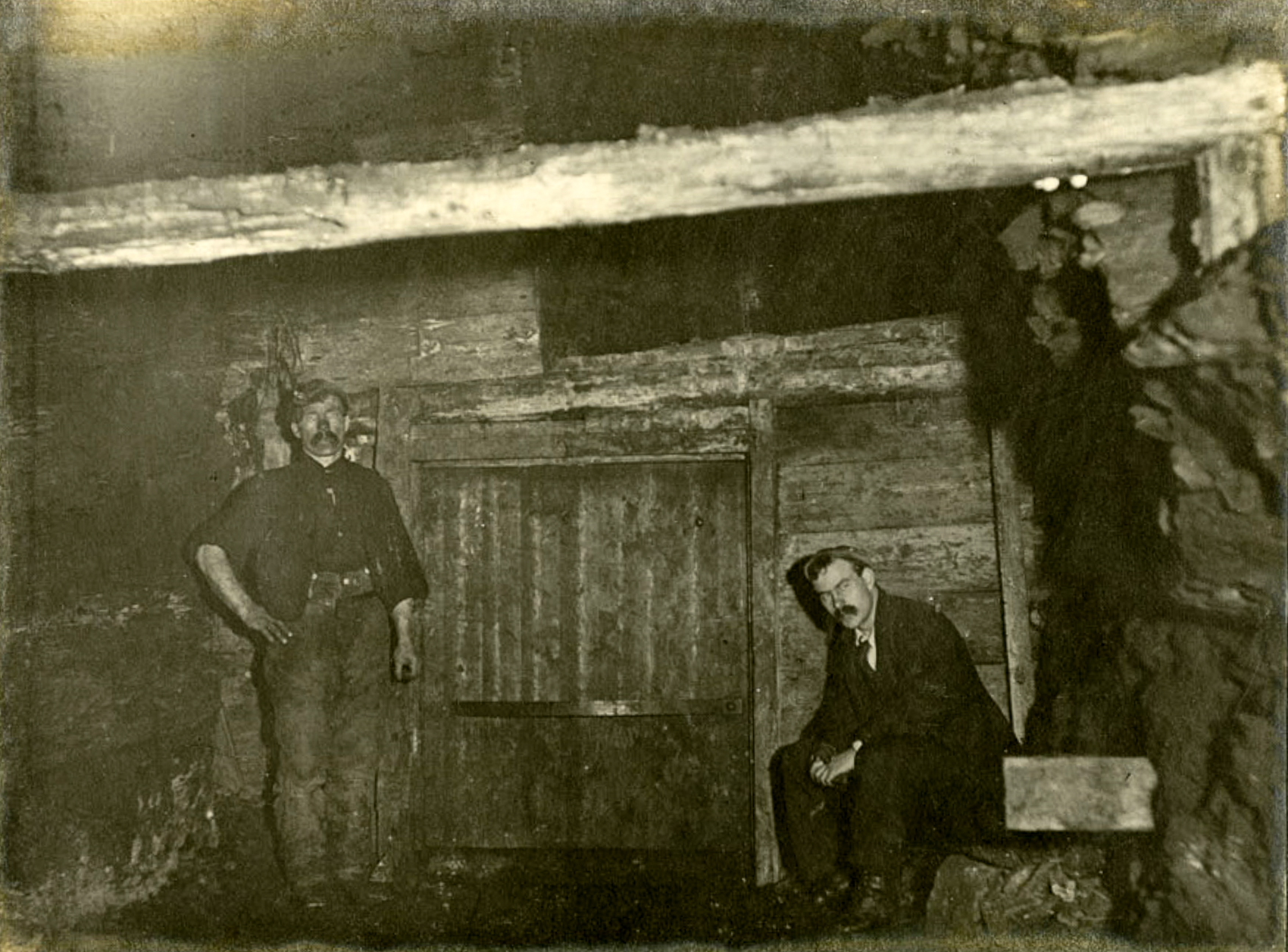 A trap door at Camp Colliery near Motherwell, around 1910.