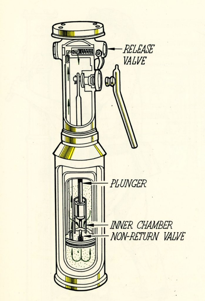 Cut-away illustration of an hydraulic pit prop, 1950s.