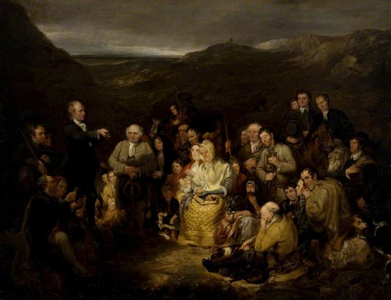George Harvey (1806–1876) The Covenanters' Preaching, c.1830 [Glasgow Museums - Glasgow City Council CC BY-NC-ND](https://www.artuk.org/discover/artworks/the-covenanters-preaching-84377)