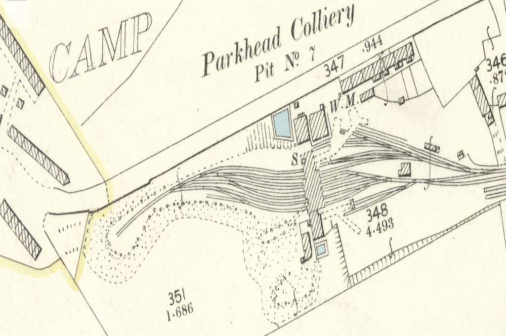 Parkhead Colliery's No.7 Pit near Motherwell from the 2nd edition Ordnance Survey map. You can see the parallel railway lines that go under the coal washing plant to collect the cleaned and graded coal ready for transport. To the left, a single railway line travels up a spoil head where the colliery waste is disposed of. (National Library of Scotland)
