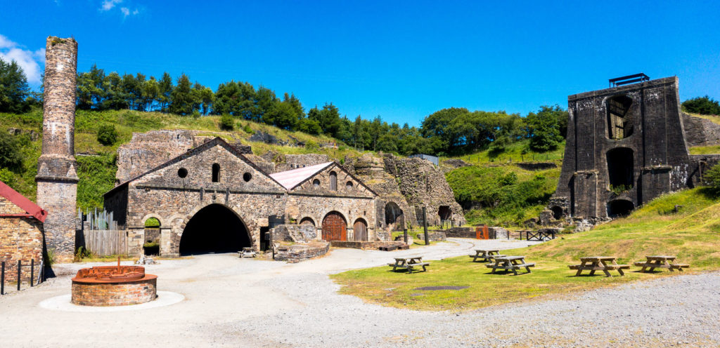 The remains of the Blaenavon Iron Works in Wales, now preserved as a World Heritage Site.