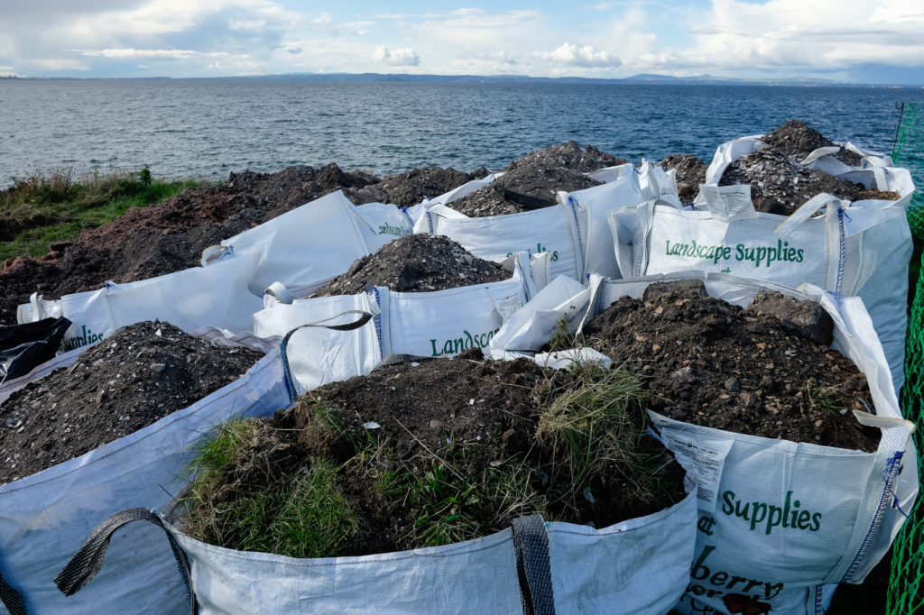 All this topsoil had to go back when the Cockenzie Harbour dig ended.
