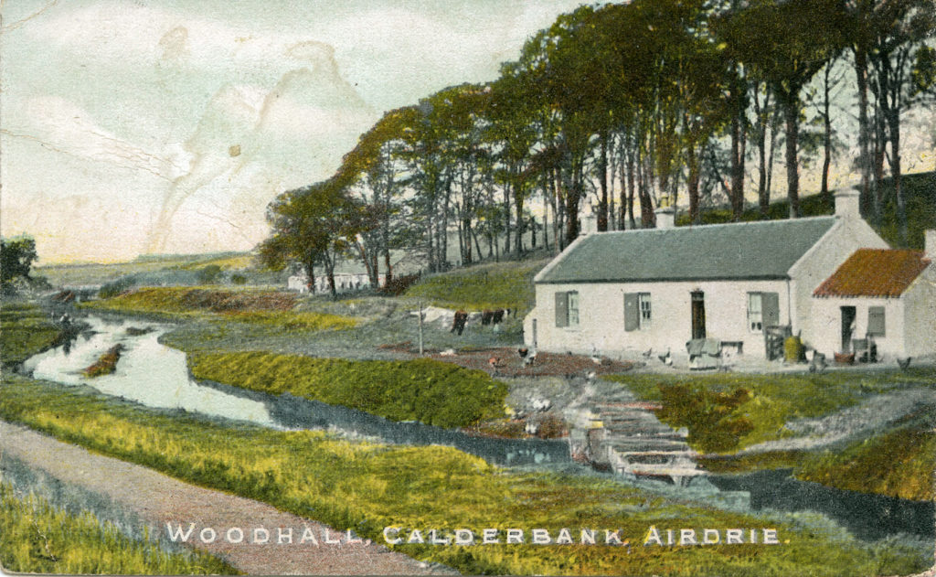 Crowood Cottage on the Monkland Canal, around 1900. You can see that this stretch of the canal has silted-up so it would be barely navigable. The houses in the distance are the Woodhall miners' rows.