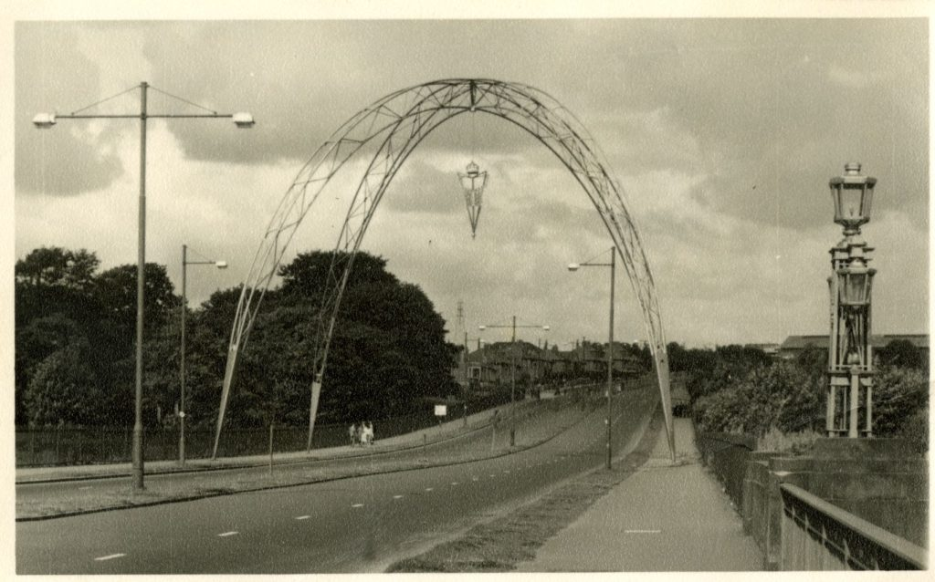 The remarkable modernist arch built at the Motherwell end of the Clyde Bridge to mark the coronation of Queen Elizabeth II in 1953.