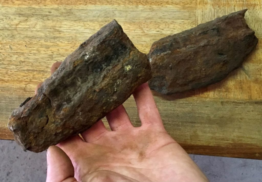 Examining pieces of iron 'fish-bellied' rail from Robert Stevenson's 1833 waggonway in the finds room (photo: Justin Parkes).