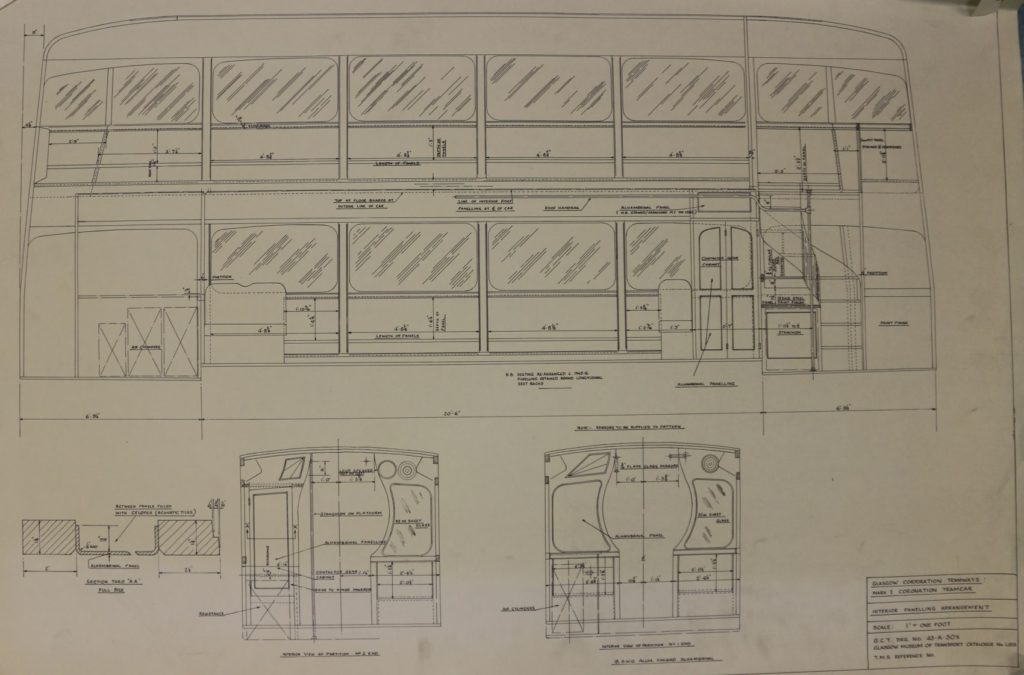Technical Drawing of the Glasgow Coronation Class Tram.