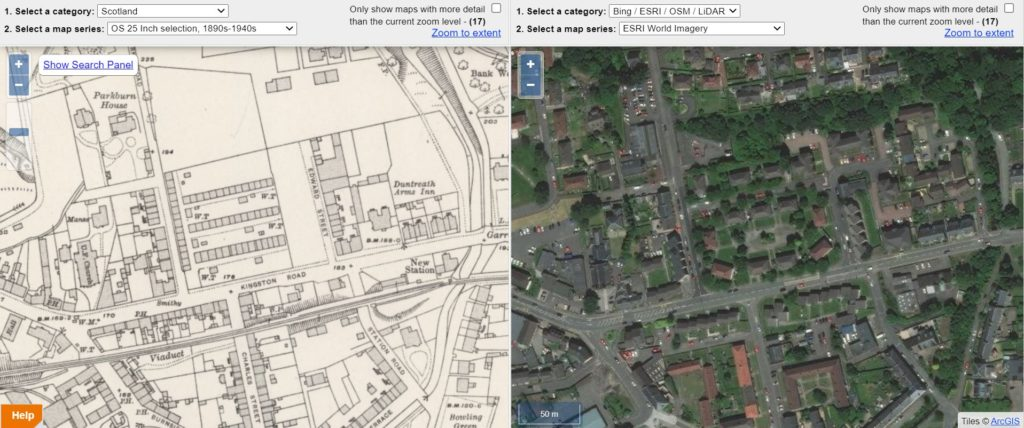 The miners' rows in Kilsyth, on the 2nd edition OS map from the 1890s and the site today (National Library of Scotland).