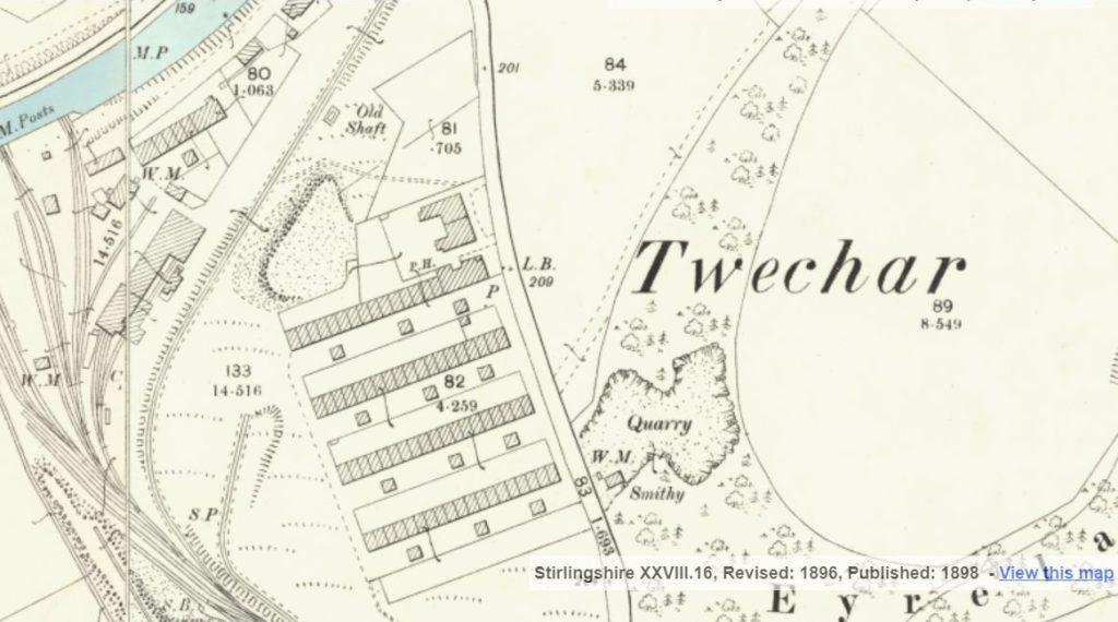The Barrhill Rows mapped in the 1890s (National Library of Scotland).