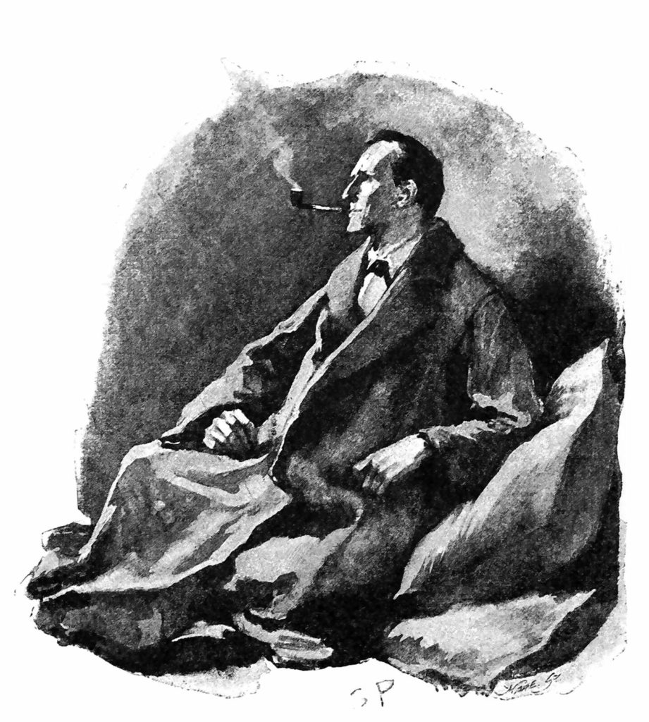 """""""The pipe was still between his lips."""" Illustration of Sherlock Holmes smoking by Sidney Paget, 1892."""